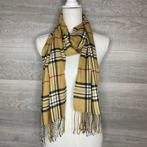 Cashmere Feel Plaid Scarf with Fringe